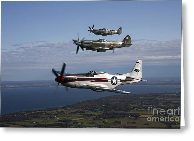 Xvi Greeting Cards - P-51 Cavalier Mustang With Supermarine Greeting Card by Daniel Karlsson