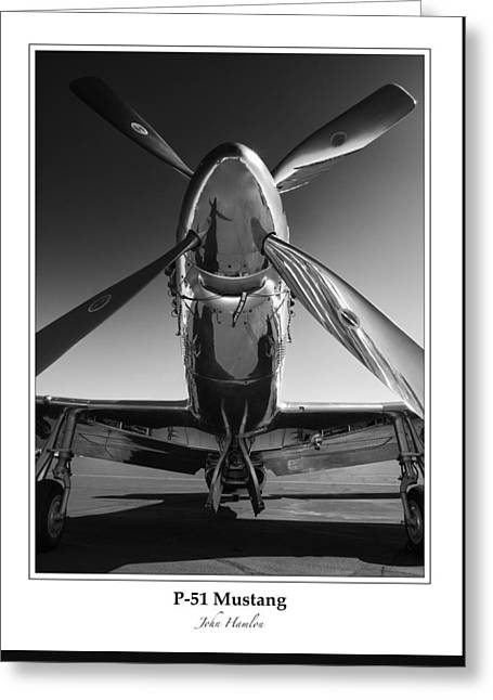 Wwii Greeting Cards - P-51 Mustang - Bordered Greeting Card by John Hamlon