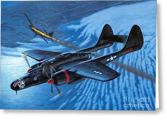 P-61 Black Widow - Caught In The Web Greeting Card by Stu Shepherd