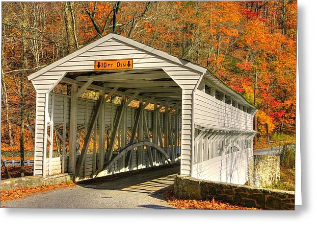 Knox Covered Bridge - Valley Forge Greeting Cards - PA Country Roads - Knox Covered Bridge Over Valley Creek No. 2A - Valley Forge Park Chester County Greeting Card by Michael Mazaika