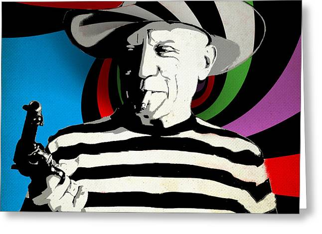 Pablo Picasso Greeting Cards - Pablo Colores Greeting Card by Surj LA