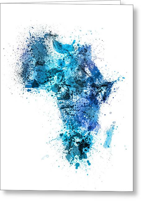 Africa Map Greeting Cards - Paint Splashes Map of Africa Map Greeting Card by Michael Tompsett