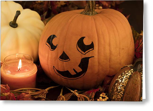 Candle Lit Greeting Cards - Painted Pumpkin and Candle Greeting Card by Malisa Nicolau