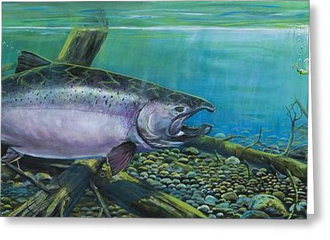 Salmon Paintings Greeting Cards - Pair of Kings  Greeting Card by Scott Thompson