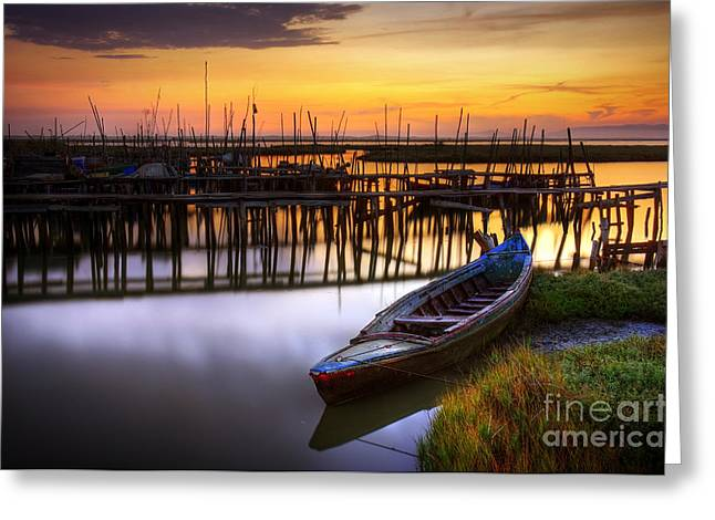 Row Boat Photographs Greeting Cards - Palaffite port Greeting Card by Carlos Caetano