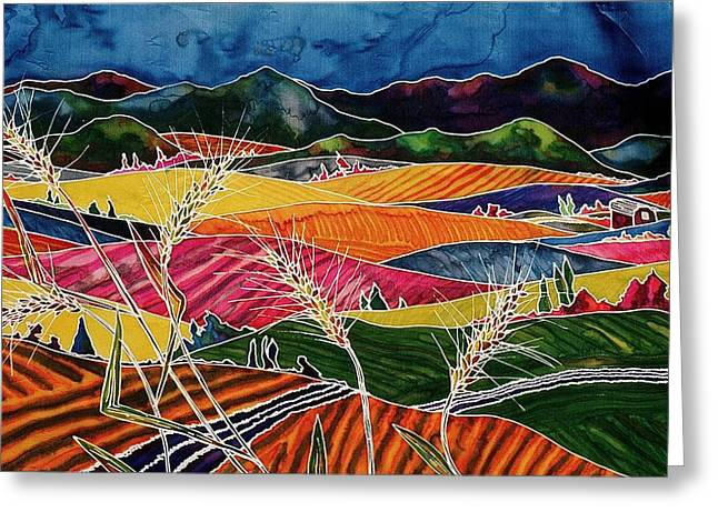 Silk Tapestries - Textiles Greeting Cards - Palouse Fields Greeting Card by Carolyn Doe