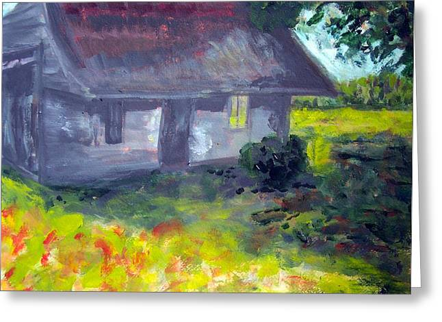 Pamlico County Shed Greeting Card by Rebecca Worters