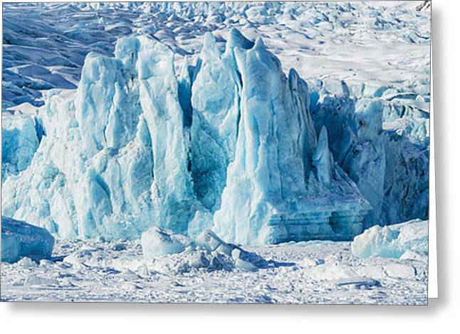 Portage Greeting Cards - Panorama View Of The Portage Glacier Greeting Card by Ray Bulson