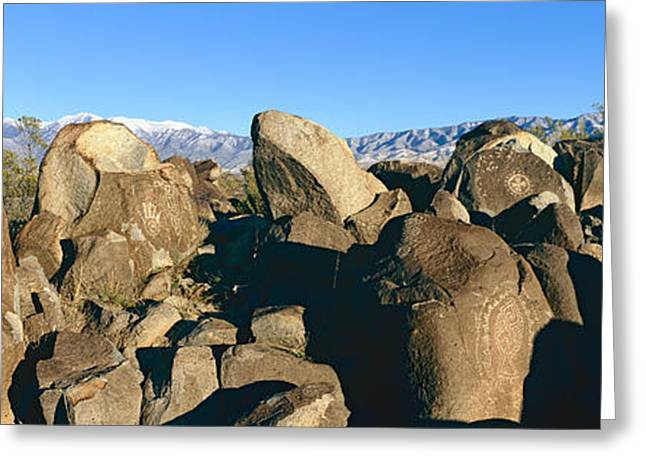 Geometric Shape Greeting Cards - Panoramic Image Of Petroglyphs At Three Greeting Card by Panoramic Images