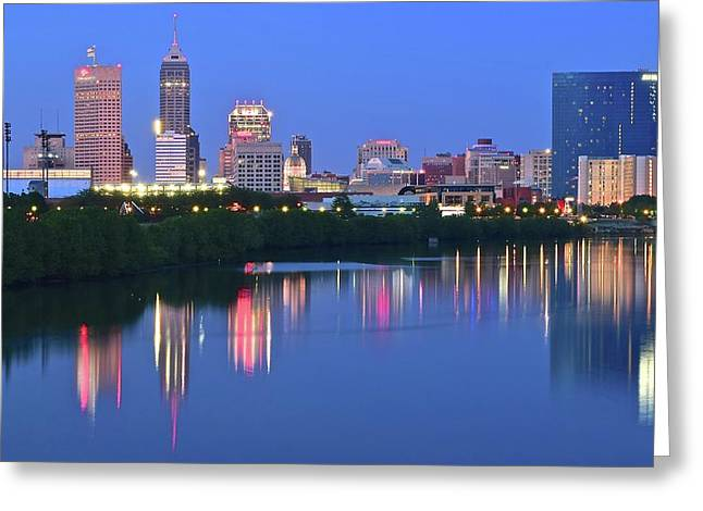 Indy 500 Greeting Cards - Panoramic Indianapolis Greeting Card by Frozen in Time Fine Art Photography
