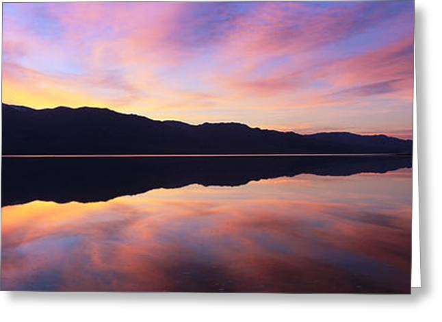 Panamint Valley Greeting Cards - Panoramic View At Sunset Of Flooded Greeting Card by Panoramic Images