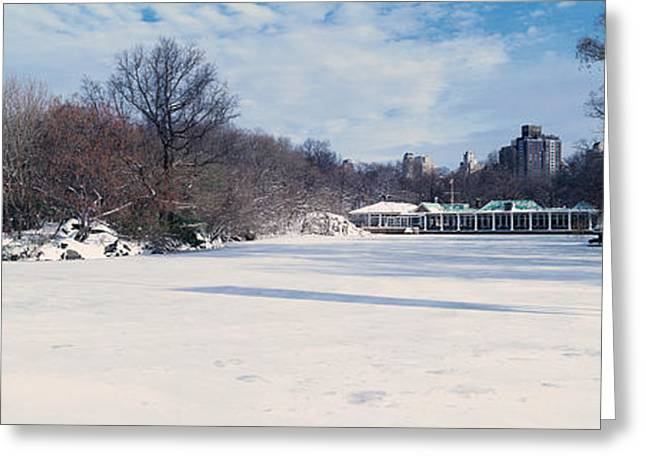 Panoramic View Of Frozen Pond Greeting Card by Panoramic Images