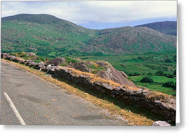 Dry Stone Wall. Greeting Cards - Panoramic View Of Healy Pass, Cork Greeting Card by Panoramic Images