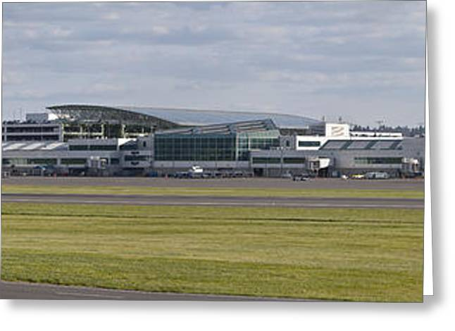 Work Area Greeting Cards - Panoramic view of Portland Oregon airport. Greeting Card by Gino Rigucci
