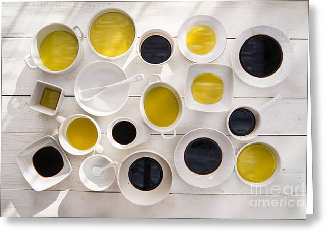 Pans With Oil And Vinegar  Greeting Card by Marco Guidi