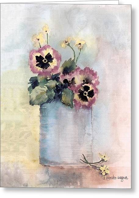 Pansies Greeting Cards - Pansies In A Can Greeting Card by Arline Wagner
