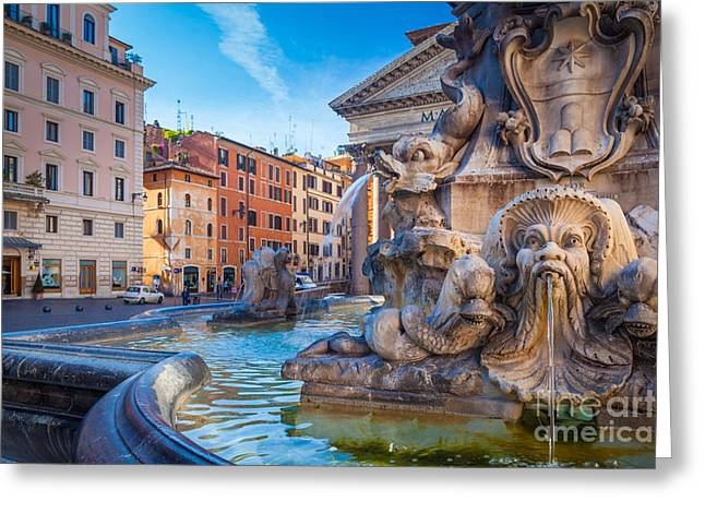 Pantheon Fountain Greeting Card by Inge Johnsson