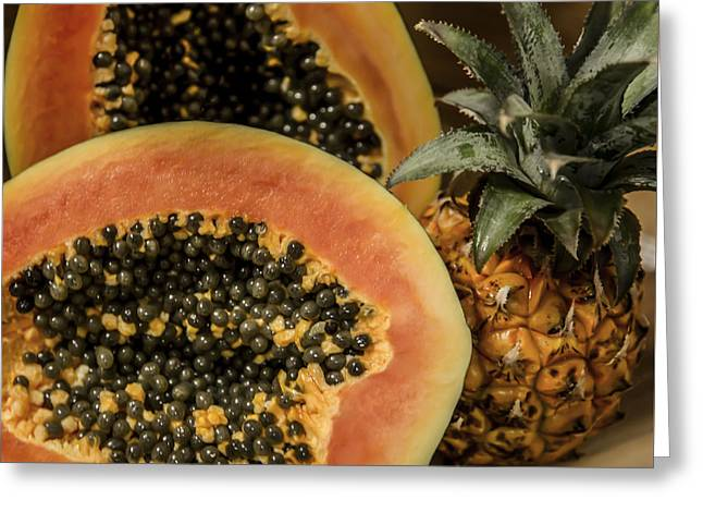 Pineapple Pyrography Greeting Cards - Papaya And Pineapple Greeting Card by Olga Photography