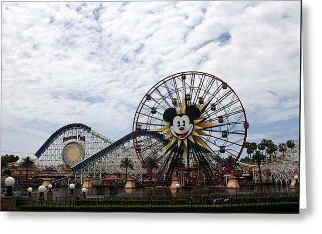 Mickeys Fun Wheel Greeting Cards - Paradise Pier Greeting Card by David Nicholls