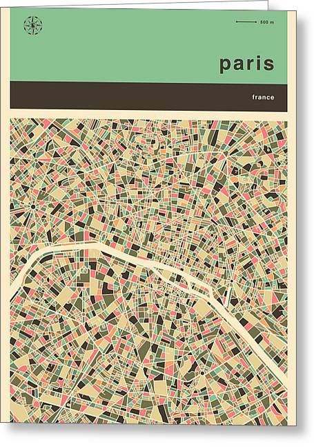 Book Cover Art Greeting Cards - Paris Map Greeting Card by Jazzberry Blue