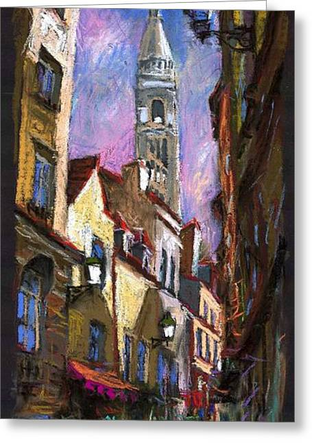 Pastel Greeting Card featuring the painting Paris Montmartre  by Yuriy  Shevchuk