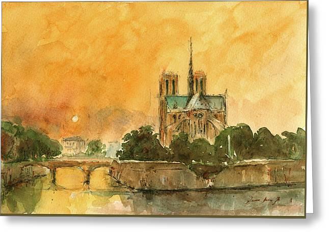 Paris Notre Dame Greeting Card by Juan  Bosco