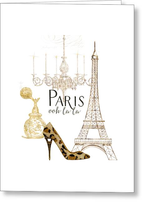 Fashionista Greeting Cards - Paris - Ooh la la Fashion Eiffel Tower Chandelier Perfume Bottle Greeting Card by Audrey Jeanne Roberts