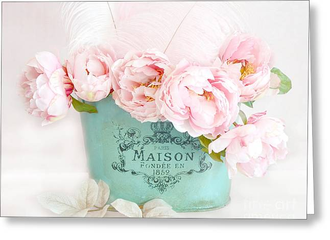 Floral Photography Greeting Cards - Paris Peonies Shabby Chic Dreamy Pink Peonies Romantic Cottage Chic Paris Peonies Floral Art Greeting Card by Kathy Fornal