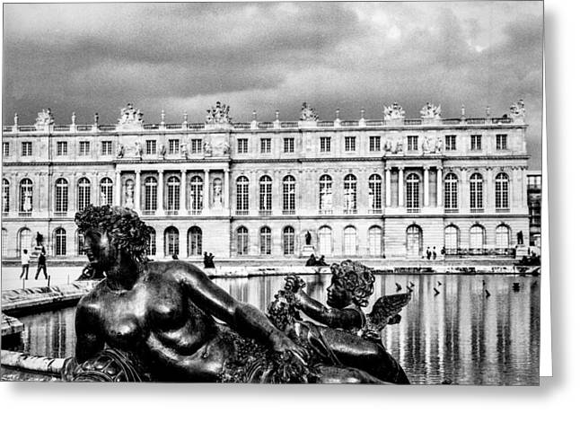 Chateau Pyrography Greeting Cards - Paris Versailles. Greeting Card by Cyril Jayant