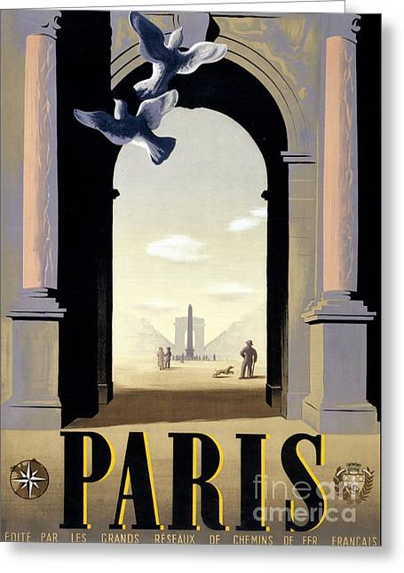 Europe Mixed Media Greeting Cards - Paris Vintage Travel Poster Restored Greeting Card by Carsten Reisinger
