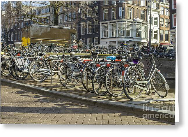 Canal Street Line Greeting Cards - Parked bikes in Amsterdam Greeting Card by Patricia Hofmeester