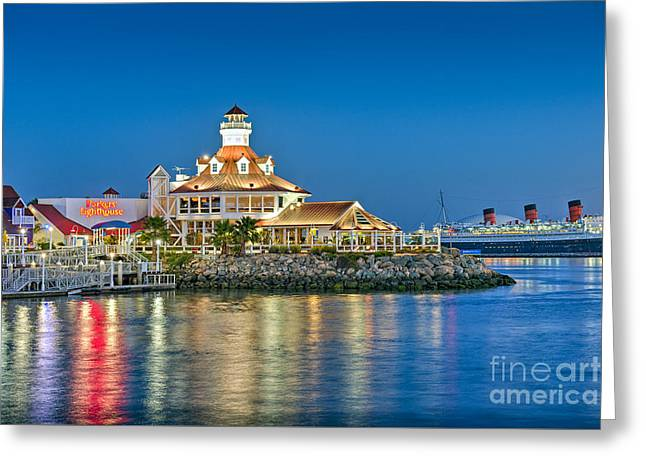 Ca Greeting Cards - Parkers Lighthouse Lit at Night Greeting Card by David  Zanzinger