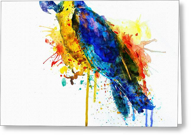 Dripping Paint Greeting Cards - Parrot Watercolor  Greeting Card by Marian Voicu