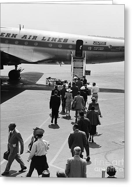 Passengers Boarding A Plane Greeting Card by H. Armstrong Roberts/ClassicStock