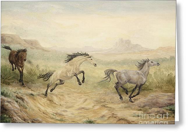 Horse Herd Greeting Cards - Passing Through Greeting Card by Cathy Cleveland
