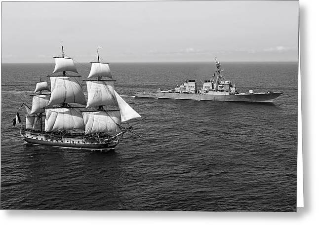 Seagoing Greeting Cards - Past and Present Greeting Card by US Navy
