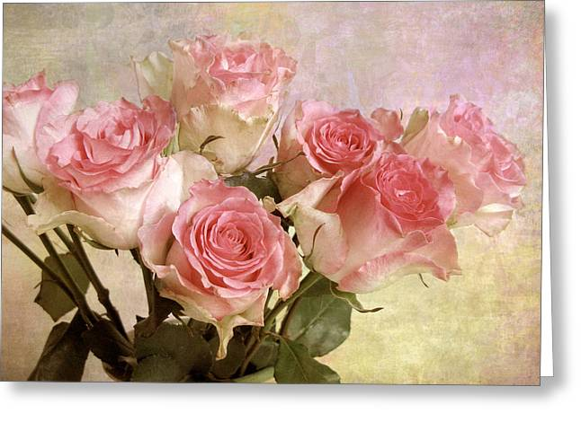 Roses Digital Greeting Cards - Pastel Bouquet Greeting Card by Jessica Jenney