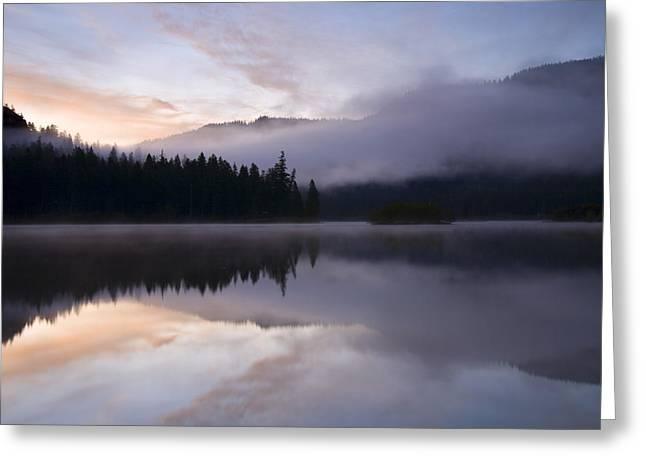 Fog Rising Greeting Cards - Pastel Dawn Greeting Card by Mike  Dawson