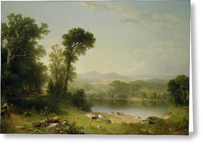 Prospects Greeting Cards - Pastoral Landscape Greeting Card by Asher Brown Durand