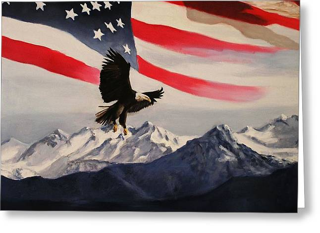Patrotic Greeting Cards - Patriotic Eagle and Flag Greeting Card by Glenn Ledford