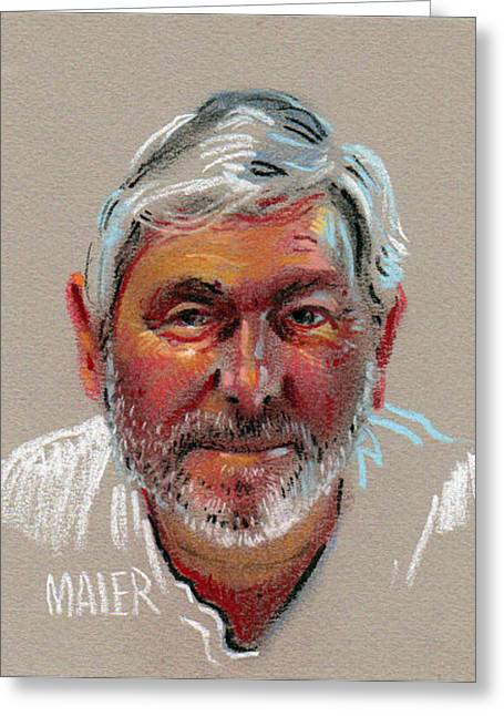Pastel Portrait Greeting Cards - Paul Greeting Card by Donald Maier