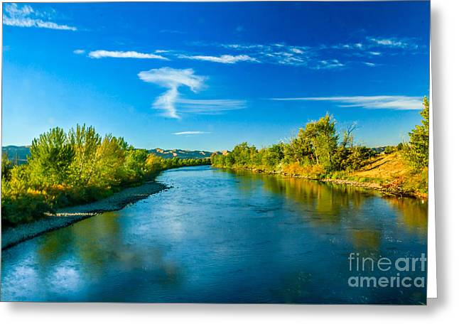 Haybale Greeting Cards - Peaceful Payette River Greeting Card by Robert Bales
