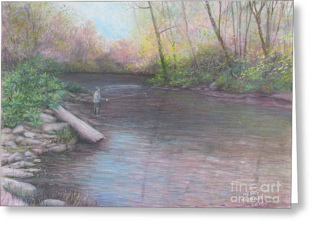 Fishing Creek Greeting Cards - Peaceful Solitude Greeting Card by Penny Neimiller