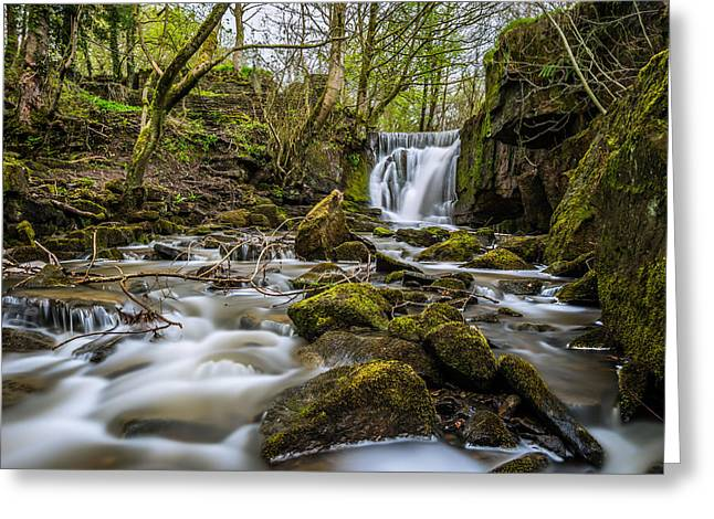Motion Greeting Cards - Peaceful Woodland Flowing Waterfall. Greeting Card by Daniel Kay