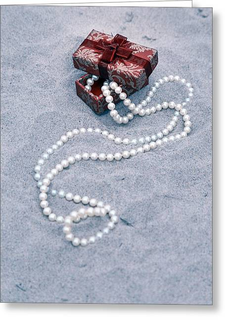 Jewellery Greeting Cards - Pearl Necklace Greeting Card by Joana Kruse