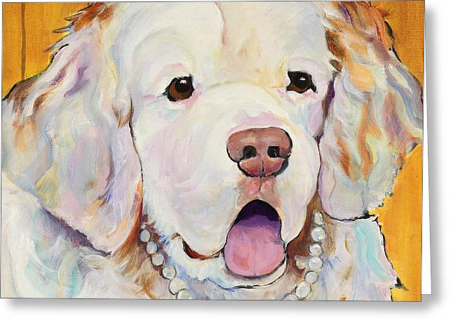 Animal Commission Greeting Cards - Pearl Greeting Card by Pat Saunders-White