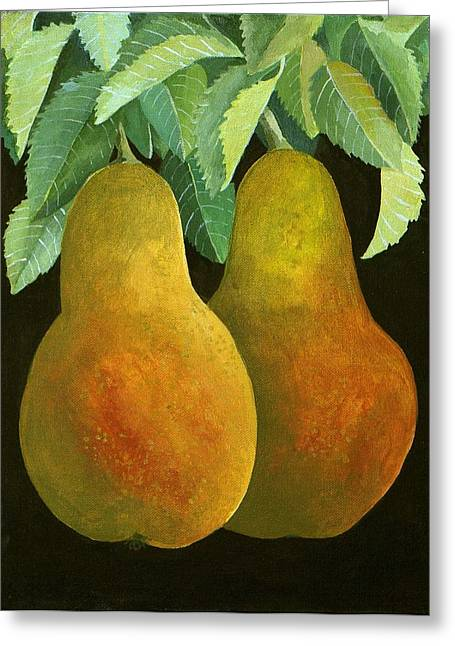 Pear Paintings Greeting Cards - Pears Greeting Card by Jennifer Abbot