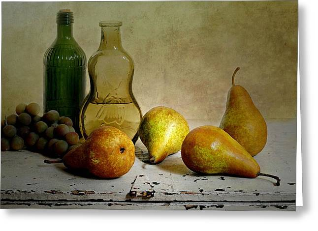 Still Life With Pears Greeting Cards - Pearsn Bottles Greeting Card by Diana Angstadt