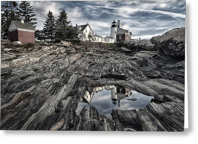 Maine Lighthouses Greeting Cards - Pemaquid Reflection Greeting Card by Robert Fawcett