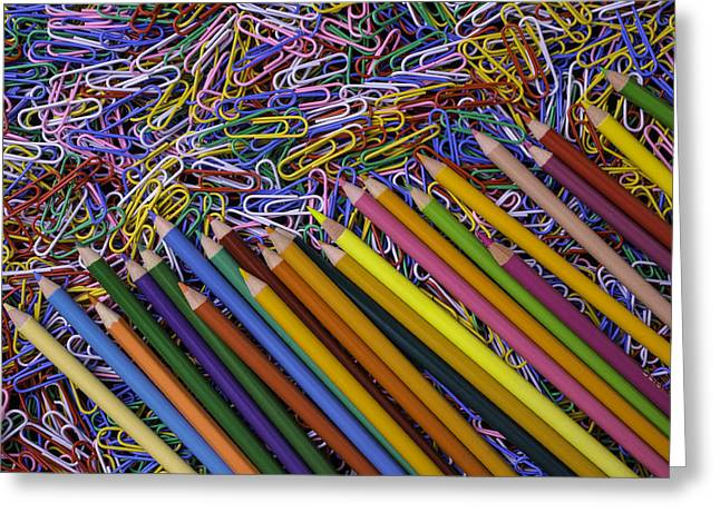 Color Pencil Greeting Cards - Pencils and Paperclips Greeting Card by Garry Gay